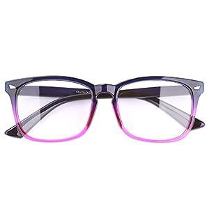 Agstum Wayfarer Plain Glasses Frame Eyeglasses Clear Lens (Gradient purple, 53)