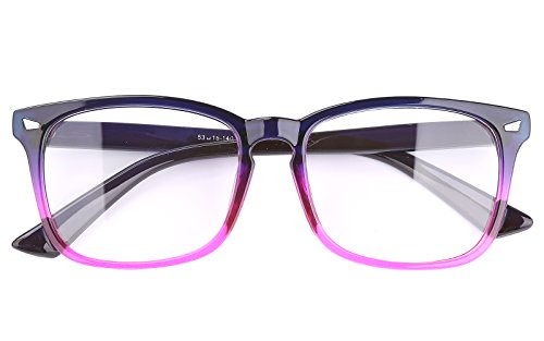 Agstum Wayfarer Plain Glasses Frame Eyeglasses Clear Lens (Gradient purple, - Purple Glasses Square