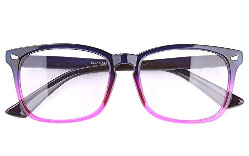 Agstum Wayfarer Plain Glasses Frame Eyeglasses Clear Lens (Gradient purple, - Glass Purple Frames