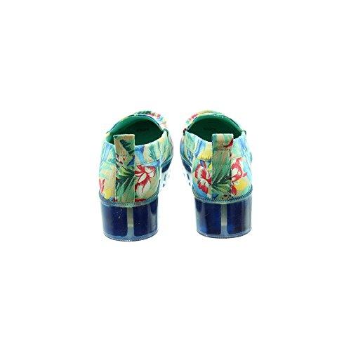 Santa Loafer Floral Canvas Sole Stefania Wedge On Monica Blue Xa6dvAvwq
