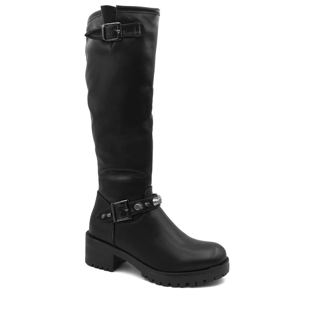 Angkorly - Damen Schuhe Stiefel Oberschenkel-Stiefel - Biker - Reitstiefel Kavalier - Rock - String Tanga - Schleife - Nieten-Besetzt Blockabsatz high Heel 5 cm