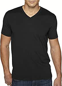 Next Level Apparel 6440 Mens Premium Fitted Sueded V-Neck Tee - Black, Extra Small