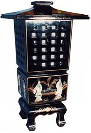 Asian Pagoda Style Lantern Table Lamp Black Lacquer With