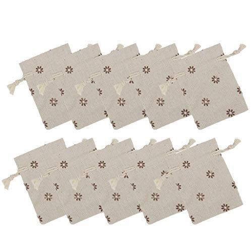 10pcs Flower Drawstring Bag Linen Jewelry Storage Pouch Wedding Favor Bags |Color - Brown|