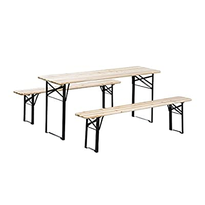 Outsunny 6' Wooden Outdoor Traditional Folding Picnic Table and Bench Set
