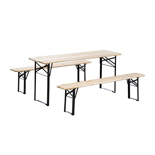 (Outsunny 6' Wooden Folding Picnic Table Bench Set Outdoor)