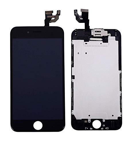 (for iPhone 6 Screen Replacement Black, with Proximity Sensor, Earpiece Speaker, Front Camera, Free Screen Protector(B25))
