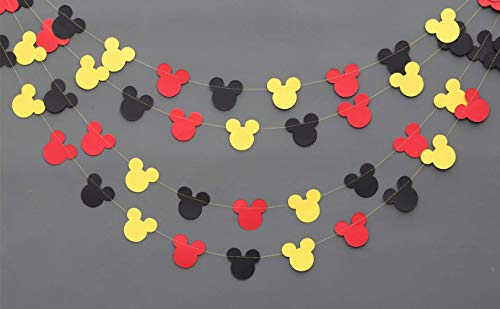 Mickey Mouse Garland - Paper Garland -Party Supplies - Club House Inspiration - Mickey Head Garland - Tricolor Mickey Head Garland Mickey Paper garland, Birthday decor Mickey garland Mickey ()