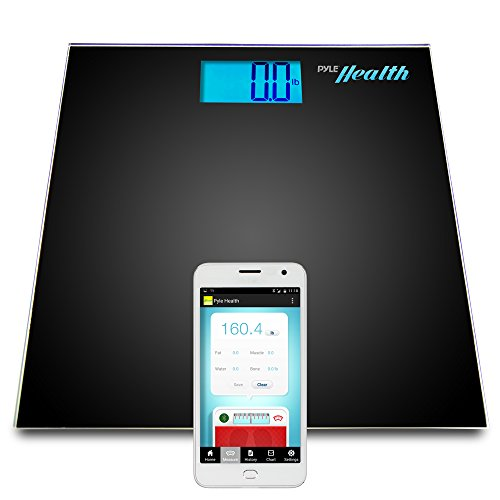 Pyle Smart Bathroom Body Scale with Bluetooth Wireless Smartphone Tracking for iPhone iPad & Android Devices (Black) (Smart Phone Weight Scale)