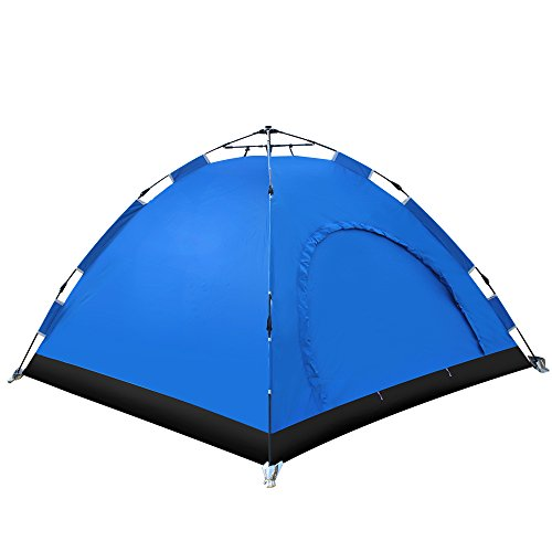 Cheap EverKing Instant Family Tent 3- 4 Person Automatic Pop Up Tent Waterproof for Outdoor Sports Camping Hiking Backpacking Travel Beach Ultralight with Zippered Door and Carrying Bag (blue)
