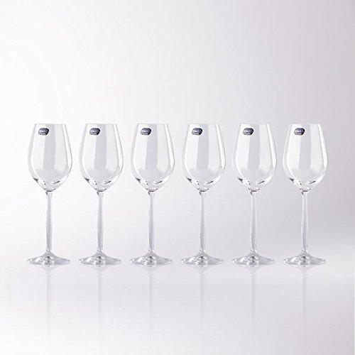 White 6 Stems (Crystal White Wine Glasses Set of 6 - Small, Cheap, Long Stem Dailyware - Made in Europe,  8.45 Ounces)