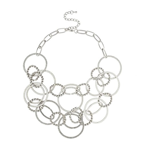 Lux Accessories All Circles Multi Chain Link Statement Necklace