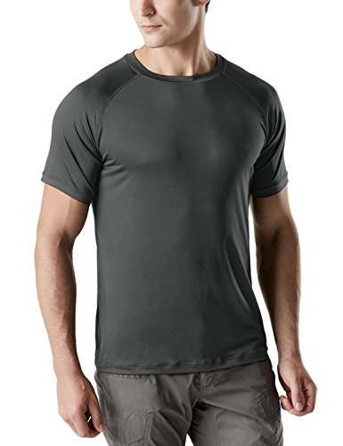 CQ-TOS100-DGY_2X-Large CQR Men's OD Quick-Dri Fit Tactical Tee Performance Short Sleeve Top Crew T-Shirt (Dri Fit Running Tee)