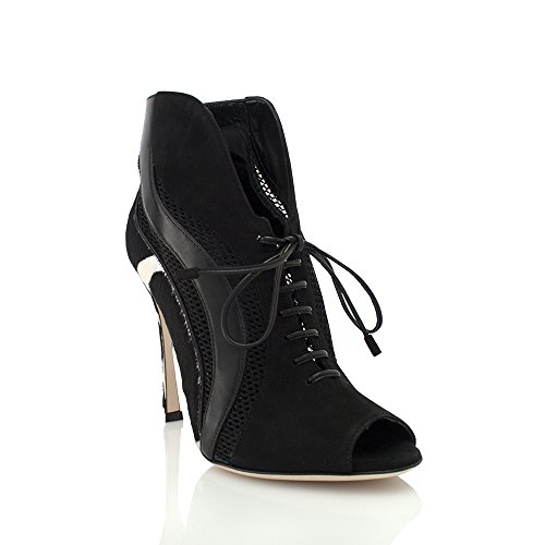 sergio-rossi-black-pony-mesh-suede-open-toe-lace-up-bootie-size-35