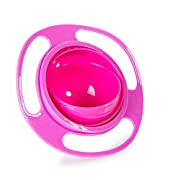 Song Kids of Plastic Creative Gyroscope 360 Degree Rotate Spill-Proof Bowl Dishes Practice Feeding Bowls Rose red