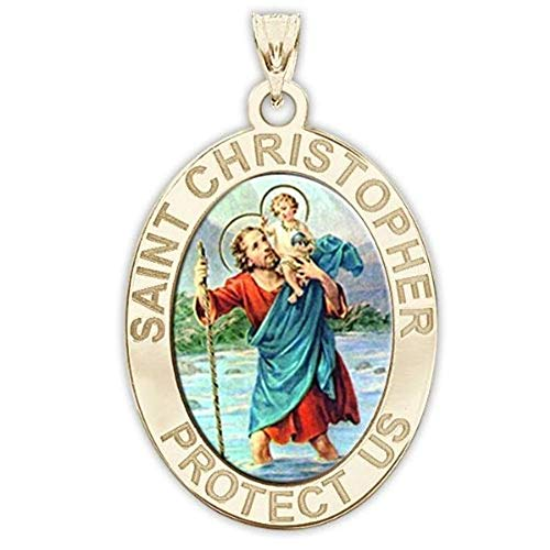 Saint Christopher OVAL Religious Medal Color - 1/2 X 2/3 Inch Size of Dime, Solid 14K Yellow Gold