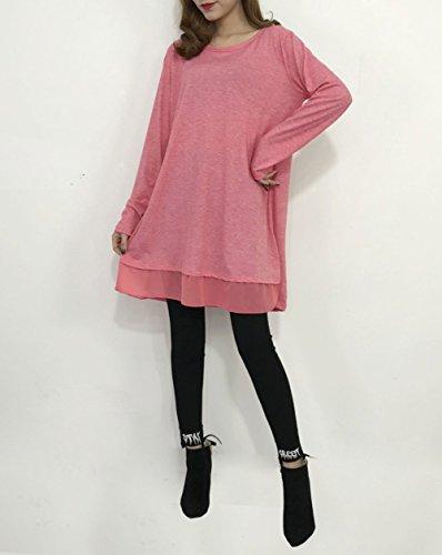 Casual Shirt Manche Longue Grande Top Haut Taille Tee Tunique Lache Longue Blouse Longue Rouge Coton Bevalsa Femme qStw8AxI6