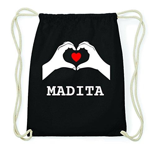 JOllify MADITA Hipster Turnbeutel Tasche Rucksack aus Baumwolle - Farbe: schwarz Design: Hände Herz QakVwLxdht