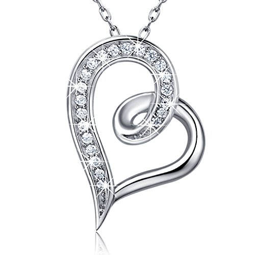 (Billie Bijoux 925 Sterling Silver Infinity Double Heart Necklace Endlessness Love Platinum Plated Diamond Pendant Gift for Women (Love Heart))
