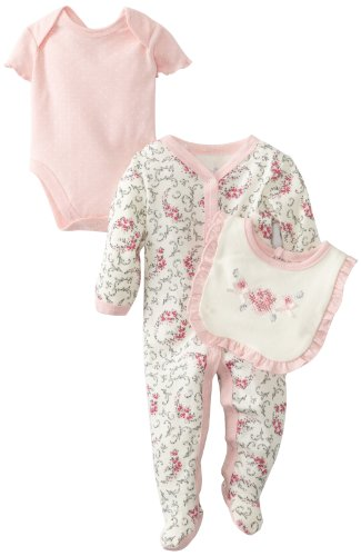 Vitamins Baby-Girls Newborn 3 Piece Footed Coverall Set Rose Flowers