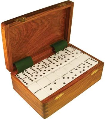 Domino Double Nine White In Dovetail Jointed Sheesham Wood Box Jumbo Tournament Size