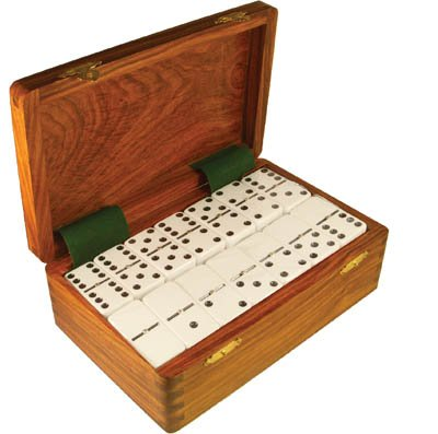 Spot Domino - Domino Double Nine White in Dovetail Jointed Sheesham Wood Box - Jumbo Tournament Size