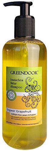 500 ml Greendoor Natur Shampoo Ingwer Grapefruit - Männer-Shampoo / for men, für kräftiges Haar & gegen Schuppen - aus Bio Olivenöl, basisches Shampoo ohne Silikon, ohne Sulfate, ohne Konservierungsmittel, basische BIO Haarpflege, all natural, 100% Natur