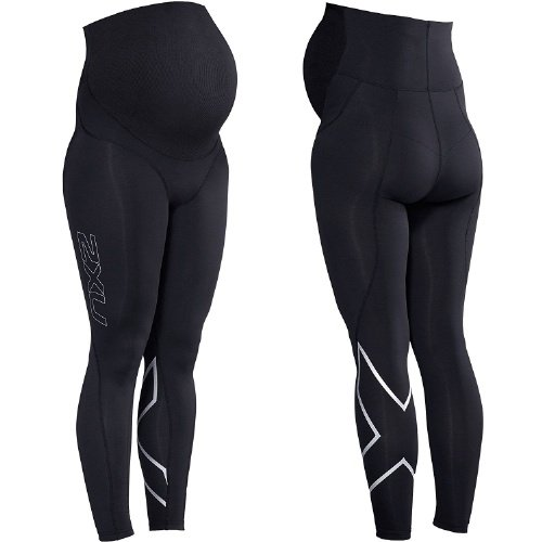 2XU Pre-Natal Sport Compression Tights (Black/Silver) Small