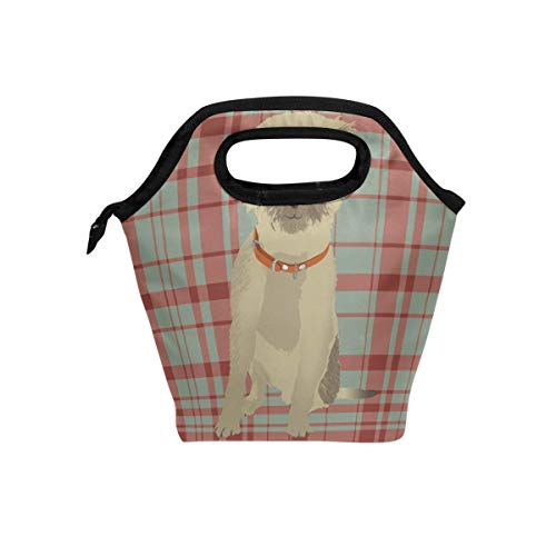 (Lunch Tote Bag with Border Terrier Dog Print- Insulated Reusable Lunch Box, BaLin Thermal Colder Lunchbox for School Work Office)