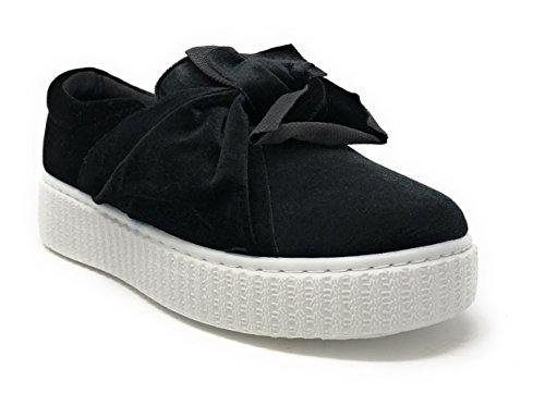 Pink Label Women's Velvet Slip-On Fashion Sneaker With Chic Bow