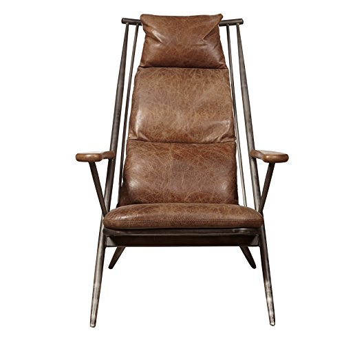 Pulaski P006204 Modern Industrial Metal and Leather Accent Lounge Chair