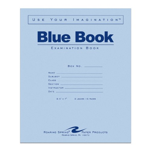 Roaring Spring Exam Blue Book  Margin Rule  8 1 2 X 7 Inches  White  8 Sht 16 Page  77512