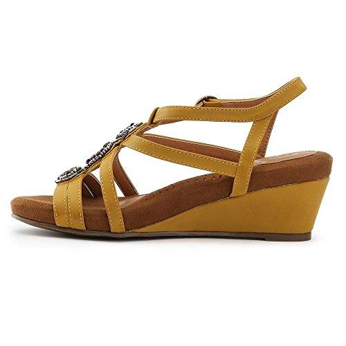 Alexis Leroy Flor diseñar, Sandalias de Romana con Cuña para Mujer Amarillo