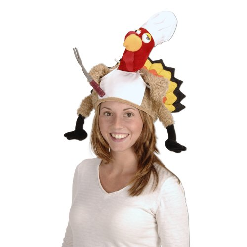 [Plush Chef Turkey Hat Party Accessory (1 count) (1/Pkg)] (Women Turkey Costume)