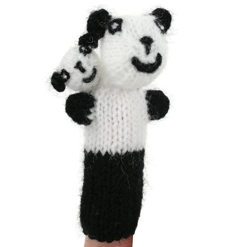 Early Years Imaginative Play PANDA Finger Puppet - Hand Knitted PANDA Finger Puppet Buzz