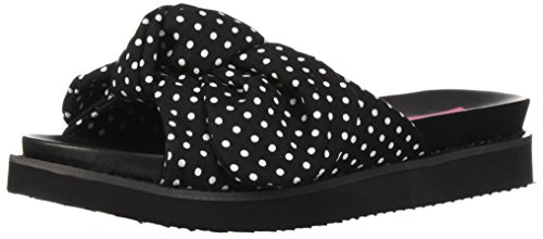Betsey Johnson Women's June Slide Sandal, Black/Polka Dot, 10 M (Black Polka Dot Sandals)