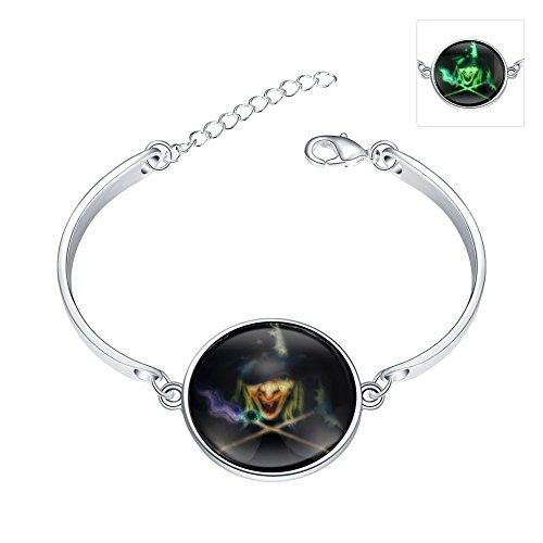 iCAREu Silver Plated Adjustable Bangle Bracelet with a Fluorescent Halloween Theme Pendant, 8