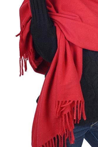 Pashmina in donna Inverno Accessorio 200 Stola Sciarpa Scialle Autunno 30 Trend cashmere Color X Rosso seta Scialle 90cm colori Solid in Toccata Top qttwOFxnX