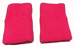 5 Inch Wristbands Pair Neon Pink