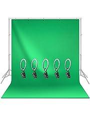 LimoStudio 6 x 9 pies Pantalla Verde Chromakey Muselina, Textura Extra Suave de Seda no Brillante con Soporte de Fondo con 5 Anillos para Estudio de Video fotográfico, AGG1338