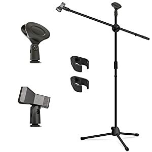 Microphone Stand Kasonic Adjustable Tripod Boom Mic Stands with 2 Mic Clip Holders Professional Collapsible for Performance Karaoke