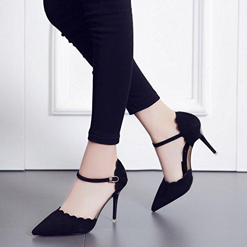 ZHUDJ Baotou Sommer Sandalen Weiblichen High Heels Heels Heels Mit Einem Feinen Eleganten All-Match Schuhe schwarz 198-6 f2034d