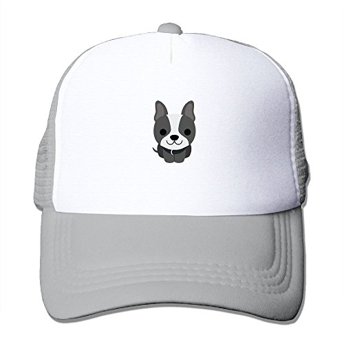 Terrier Embroidered Cap (Uzhongquux Cute Boston Terrier Summer Mesh Cap With Adjustable Snapback Strap Ash)