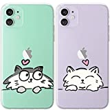 Mertak TPU Couple Cases for Apple iPhone 11 Pro Max Xs Xr X 10 8 Plus 7 6s SE 5s Cute Kawaii Girlfriend Cats Cover Adorable Gray Slim Lightweight Print Gift Boyfriend Matching White Anniversary