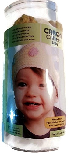 (Caron Critters Childrens White With Green, Pink, Blue and Yellow Designs Hat Knitting Kit / 3 - 24 Months)