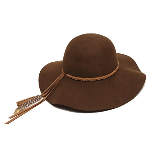 'ale by alessandra Women's Earth Spirit Adjustable UPF 50+ Wool Felt Floppy Hat with Leather Trim, Brown, Adjustable Head Size by ale by Alessandra