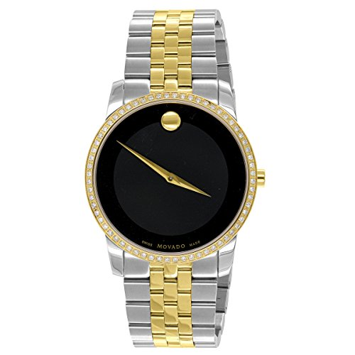2 Tone Movado Watch Gold & Silver Black Dial 1CT Real Diamonds Stainless Steel Watch Analog Display