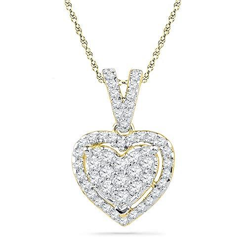 Diamond Pendant for Women 10kt Yellow Gold Round Heart Love 1/5 Cttw - Heart Pendant 10kt Gold Jewelry