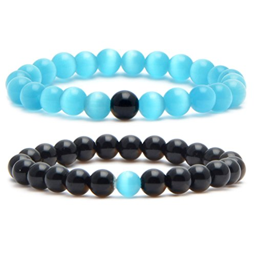 MIKINI His and Her Couple Distance Bracelets Healing Energy Balance Stone Beads Bracelets - Pack of 2 (Natural Black Obsidian & Syn Blue Cat's Eye Stone)