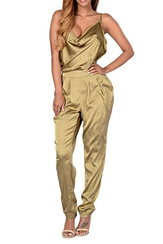 Elosele Women Yellow Low Cut Halter Backless Long Satin Rompers Jumpsuits S